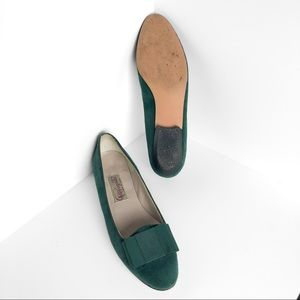 Vintage Shoes - Vintage Pappagallo Emerald Green Suede Flats